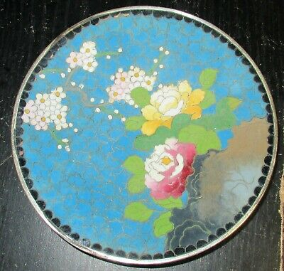 """Inaba Cloisonne Blue Enamel Cherry Blossoms 4""""3/4 Plate Signed"""