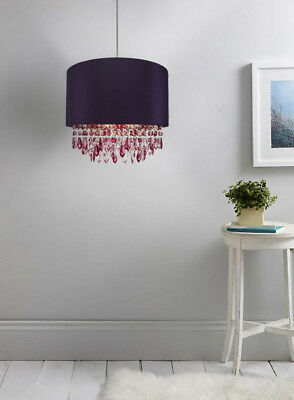 Modern Easy Fit Drum Shade Purple Fabric Ceiling Pendant Chandelier Light