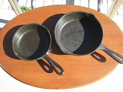 Two Vintage USA Cast Iron Skillets No. 3 and No. 5