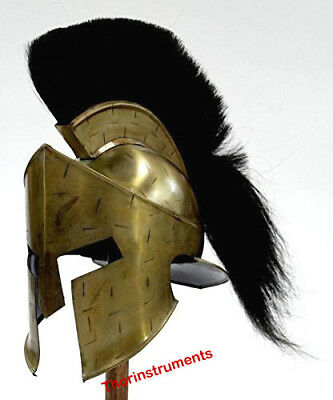 Greek Corinthian Antique Helmet Black Plume, Armor Medieval  with stand