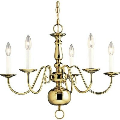 Chandelier Americana Collection 5-Light Polished Brass Classic Up Down Lights