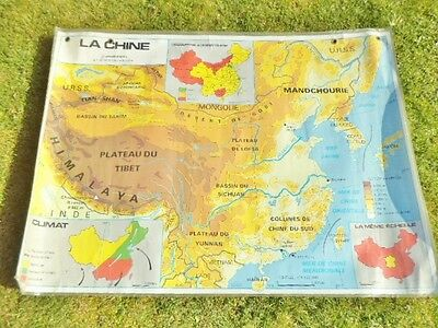 LARGE  FRENCH VINTAGE SCHOOL DOUBLE SIDED MAP POSTER (CHINA) 1992 126cm x 93cm