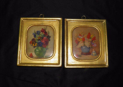 Set 2 Vintage BORGHESE Chalkware Plaster Plaques Floral Italian 5.75 x 5 Picture