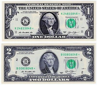 2013 One Dollar ($1) and 2013 Two Dollar ($2) Gem Uncirculated * Star Notes *