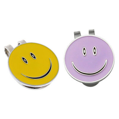 Set of 2 Cute Smile Face Magnetic Hat Clip Golf Ball Marker Clip On Golf Cap