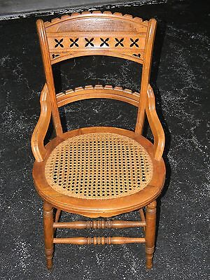 Antique East Lake Style Victorian Cane Seat Hip Rest Dining Accent Chair Nice