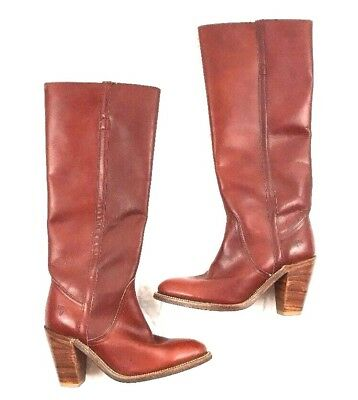 VINTAGE FRYE 6.5 Boots 7110 Leather Riding Knee High Tall Western 1970s Womens