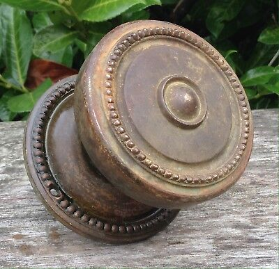 Large Vintage Antique Aged Brass Centre Front Door Knob Pull Handle & Backplate