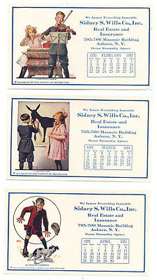 3 different ad cards - Auburn, NY business - Frederic Stanley illus w. calendar