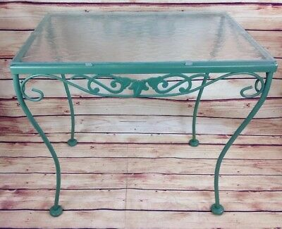 Vintage Wrought Iron Rectangle Outdoor Patio Pool Side Table Floral Leaf GREEN