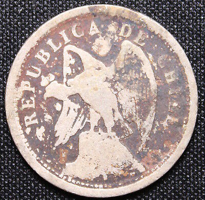 1921 So Chile 20 Centavos Condor Coin - Santiago Mint 94