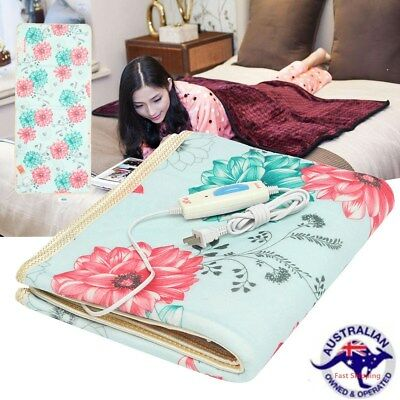 150x60CM Electric Heated Blanket 220V Throw Floral Cotton Bedroom Warm Mattress