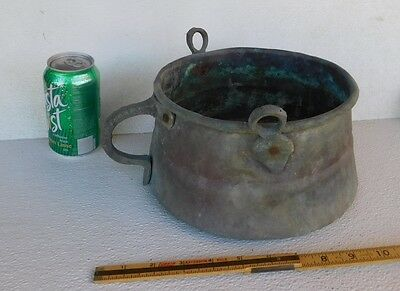 Collectible Antique Brass Copper Cooking Pot Cauldron  Hand Forged Handles Vtg