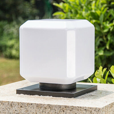 Square Exterior Outdoor Solar LED Lamp Post Light Garden Fence Pillar Lantern