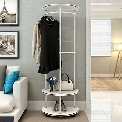 Wood & Steel Coat Garment Stand Rack Clothes Storage Wardrobe Closet Shoe Shelf