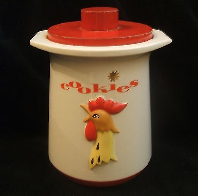 Vintage Holt Howard Coq Rouge Red Rooster Chicken Cookie Jar 1961 Red Lid