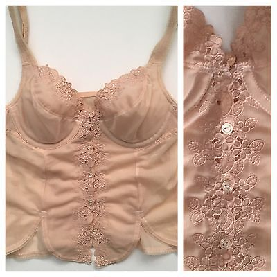 Vtg  Lingerie Bra Camisole Embroidered Flower Cutout Nude Tank Top Boho 70s 80s