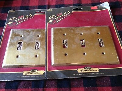 Pair of solid brass three opening switch plate covers - unused in packages