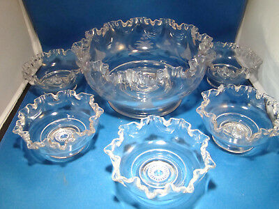 Depression Glass Dessert Berry Bowls Footed Clear Etched Ruffled Rim 6 Piece @26