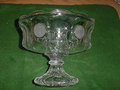 Beautiful Fostoria Crystal Coin Glass 8 1/2 inch Compote, scalloped top edge