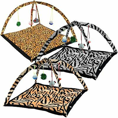 Pet Cat Kitten Activity Play Mat Bed  With Attached Toys Mouse, Bell,Ball &Home