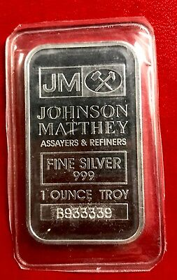 Johnson Matthey 1oz .999 Fine Silver 1 oz Sealed - Neat Near Solid Serial 933333