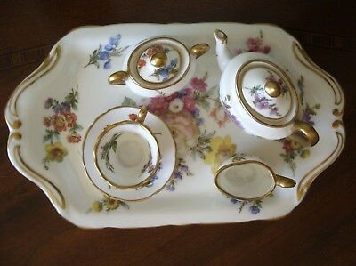 Hammersley Miniature 8 Piece Tea Set with Tray England Floral Gold Trim H 26