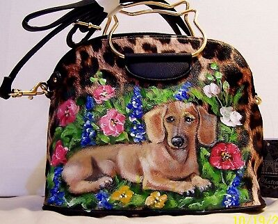 Hand Painted Dachshund On Vegan Leather Crossbody Handbag