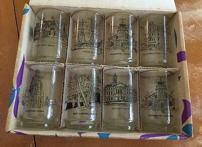 Vintage State Of Connecticut Boxed Set Of 8 Glasses Glassware By Libby (Rare)