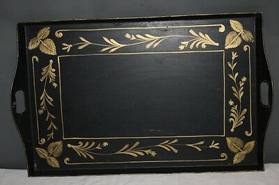 Antique Tole Tray Gold Stencil Leaf Stems Floral on Black Hand Painted High SIde