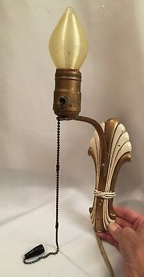 Antique Vintage Electric Wall Sconce with Original Bulb Art Deco Design - Works
