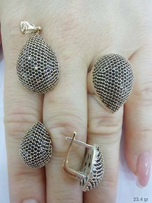 Sterling 925 Silver Jewelry Handmade Fabulous Micro-Pave Onyx Full Sets