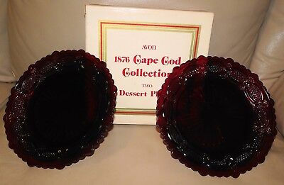 PAIR OF Avon 1876 CAPE COD Collection Ruby Red Glass DESSERT PLATES NEW  IN BOX