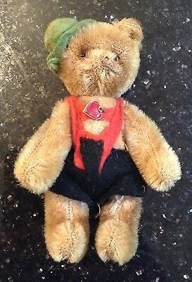 Vintage Miniature Early 1950s Austrian Berg Teddy Bear Italic Heart Glass Eyes