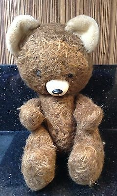 Unusual Possibly Japanese Vintage Teddy Bear Large Head Plastic Nose & Mouth