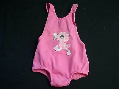 Vintage 1950 1960s retro baby girl swimsuit CARTERS pink radiant 9 12 18 mo