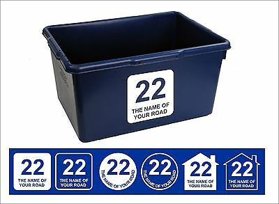 Kerbside Recycle Box or Wheelie Bin Vinyl Signs - two Stickers with House Number