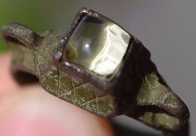 Old ancient Viking ring, shield with natural amber 10-14century a5