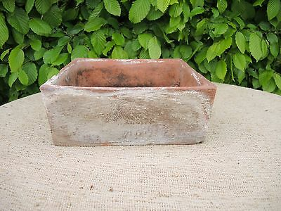 """Rare Old  Hand Thrown  Vintage Square Terracotta Seed Pan 10"""" Square (508)"""
