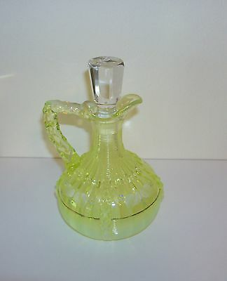 Antique Northwood Vaseline Glass Cruet w/Hand Painted Details Alaska/Lions Leg