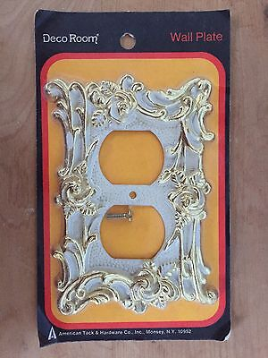 Vtg Ornate American Tack Wall Plate Cover Plug Receptacle DECO ROOM White Brass