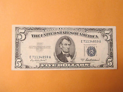 1953-A $5 Silver Certificate Beautiful