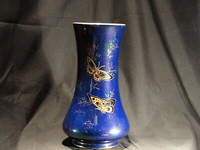 "Porcelain Vase Crown Devon Fielding's Blue Lustrine c1912 Butterfly ""Summer"""