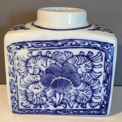 Blue-and-White Floral Ceramic Brush Washer/ Small Vase Decorated with Pansies