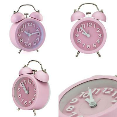 "3"" Mini Non Ticking Vintage Classic Bedside Table Analog Alarm Clock Pink"