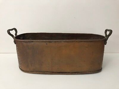 "Antique Heavy Copper Trought Tub Planter Pot w/Brass Handles, 20"" x 7"" x 8"" High"