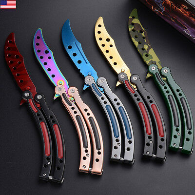 Folding Practice Butterfly Knife Balisong Trainer Training Knife Stainless Steel