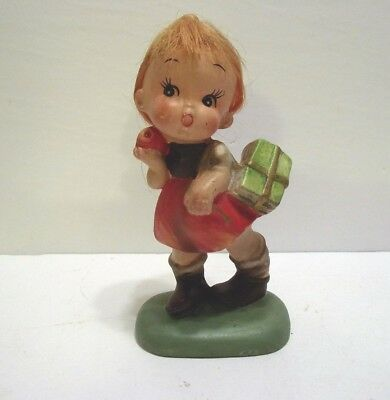 """Vintage Collectible  """"napcoware"""" Girl Figurine With Real Hair  #c-6860"""