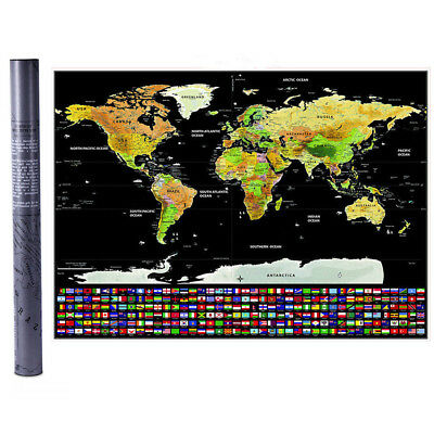Travel Tracker Big Scratch Off World Map Poster with Australia  Flags AU Stock