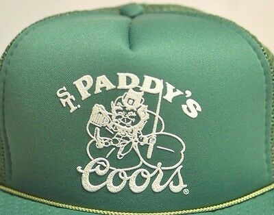 Coors Beer St. Paddys Vintage Snapback Mesh Green Hat Cap Paddys Day Breweriana